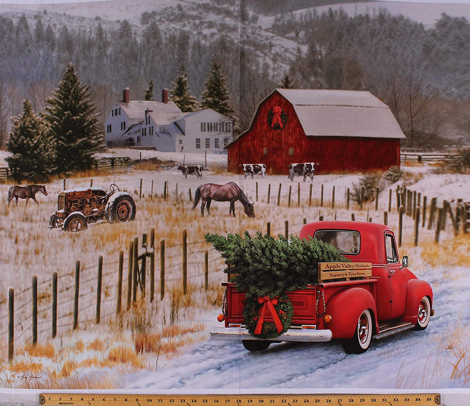 Amazon Com 36 X 44 Panel Holiday Red Truck Christmas Tree Country Farm House Winter Scene Red Barn Tractor Horses Christmas Memories Cotton Fabric Panel D500 38