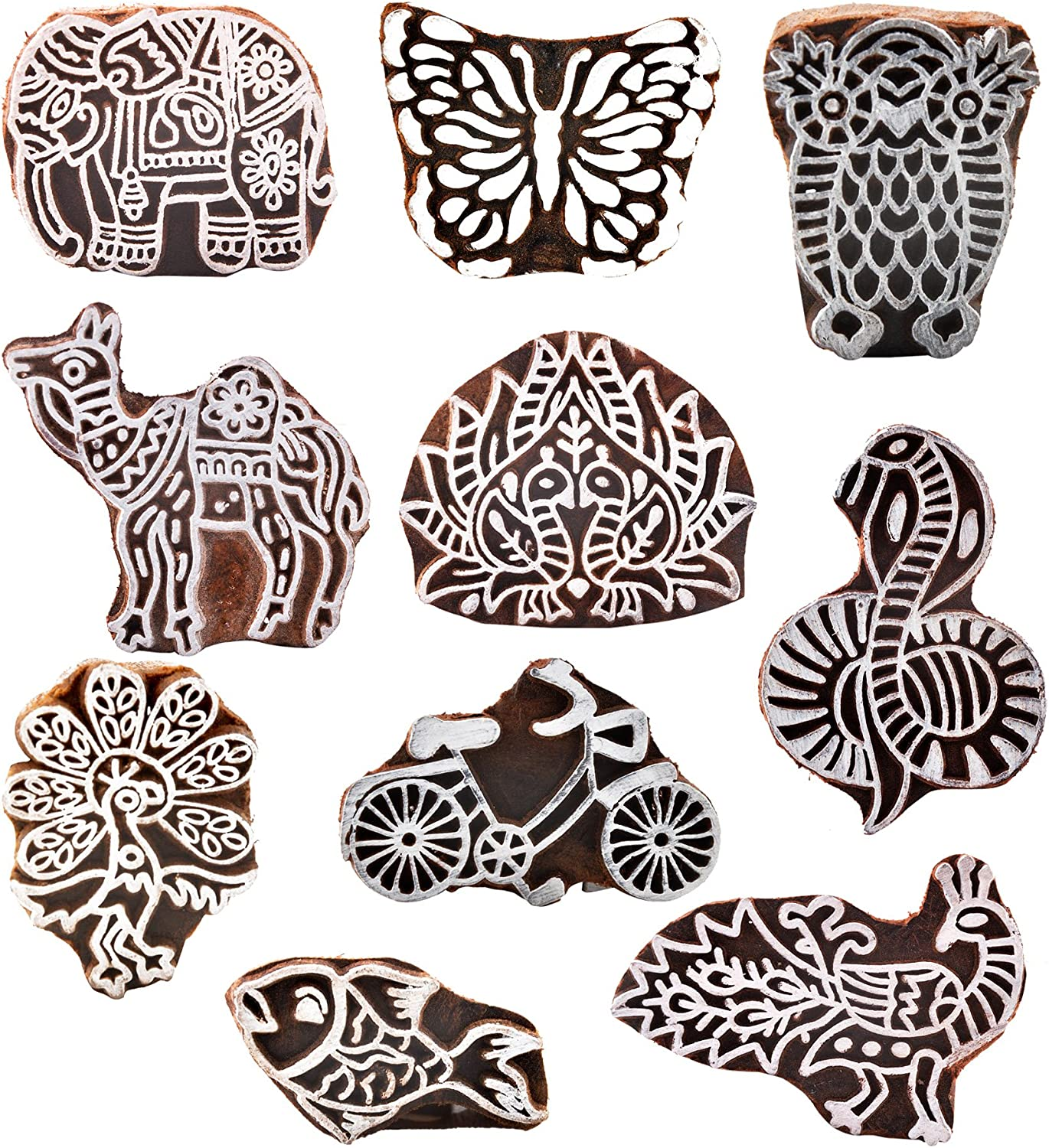 Hashcart Baren for Block Printing Stamps//Wooden Stamping Block//Handcarved Designer Craft Printing Pattern for Saree Border,Henna//Textile Printing,Scrapbooking,Pottery Crafts /& Wall Painting,Set of 10