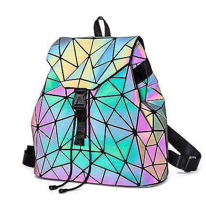 Amazon.com: Mochila Geométrica Luminosa Mochilas Holográfica ...