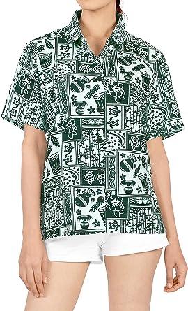 LA LEELA Womens Plus Size Hawaiian Shirt Short Sleeve Blouse Tops Shirt Printed