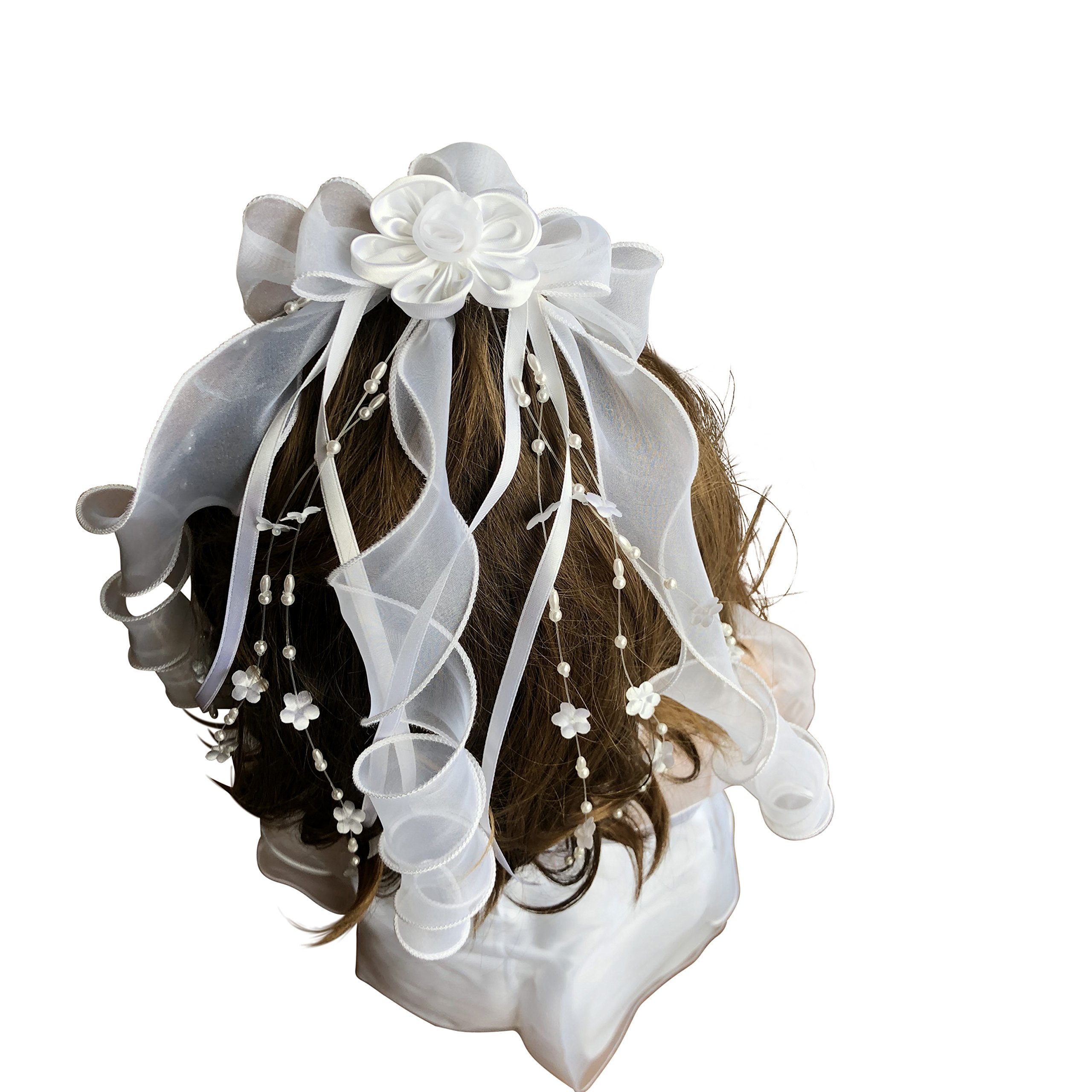 First Communion Veil White Foral Ribbon with Pearl from VGI by VGI (Image #5)
