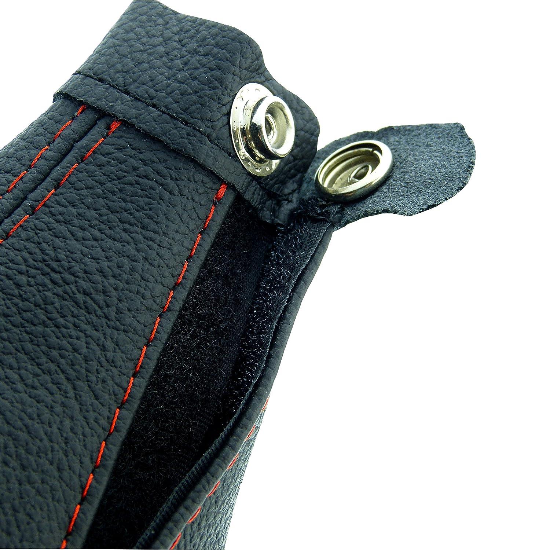 L/&P A007-1 Schaltsack Schaltmanschette aus 100/% Echtleder in schwarz Naht rot