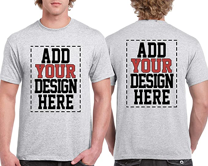992530626b698 Custom 2 Sided T-Shirts - Design Your OWN Shirt - Front and Back Printing  on Shirts - Add Your Image Photo Logo Text Number