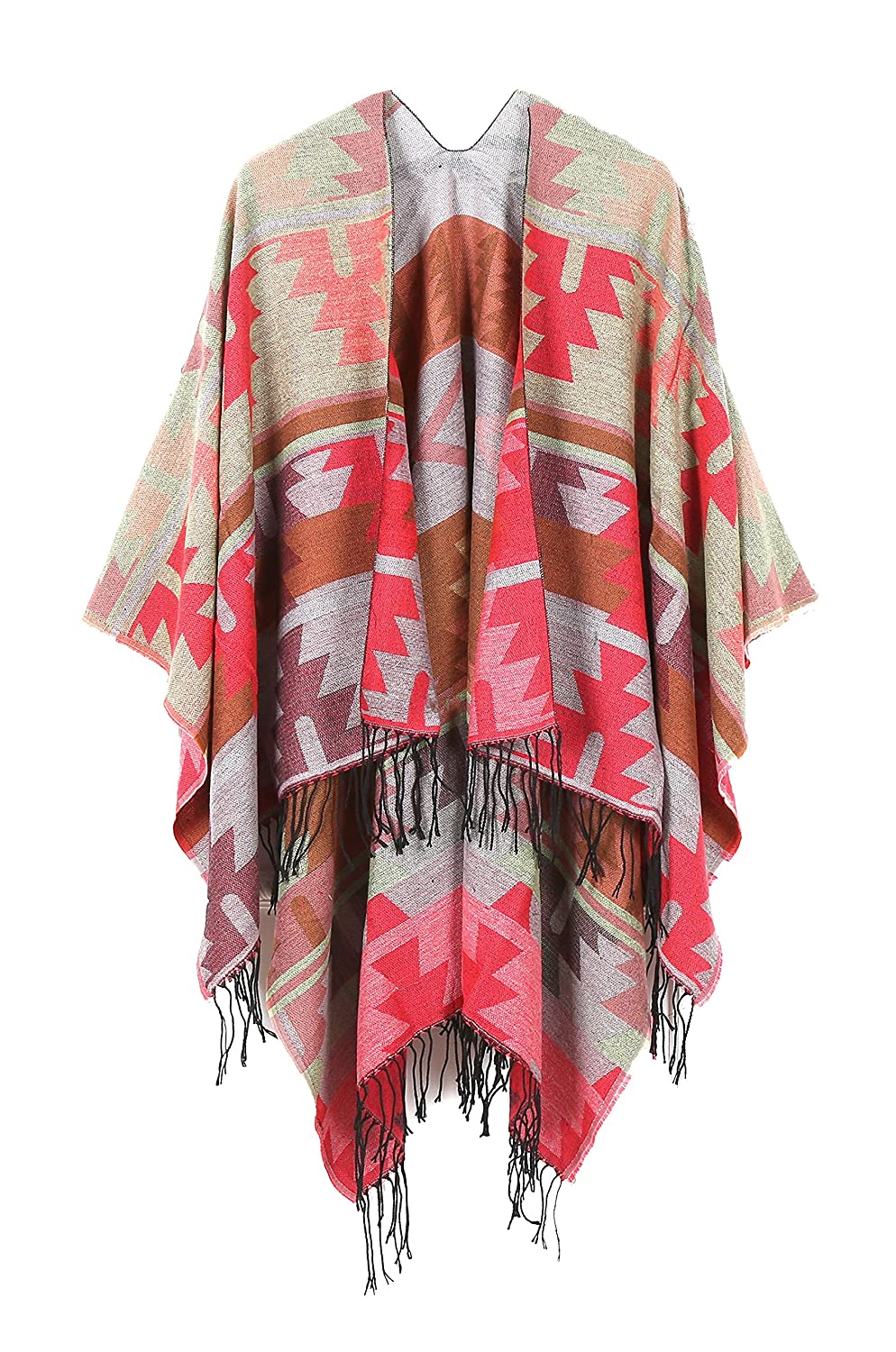JURUAA Women's Fringed Cashmere Fleece Poncho Shawl Wrap Coat JURUAACA16961067