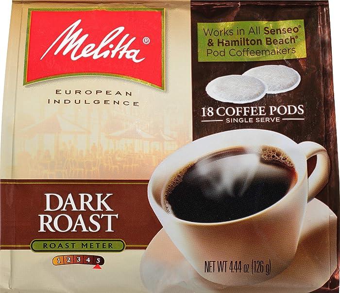 Melitta Single Cup Coffee Pods for Senseo & Hamilton Beach Brewers, Dark Roast Coffee, 18 Count