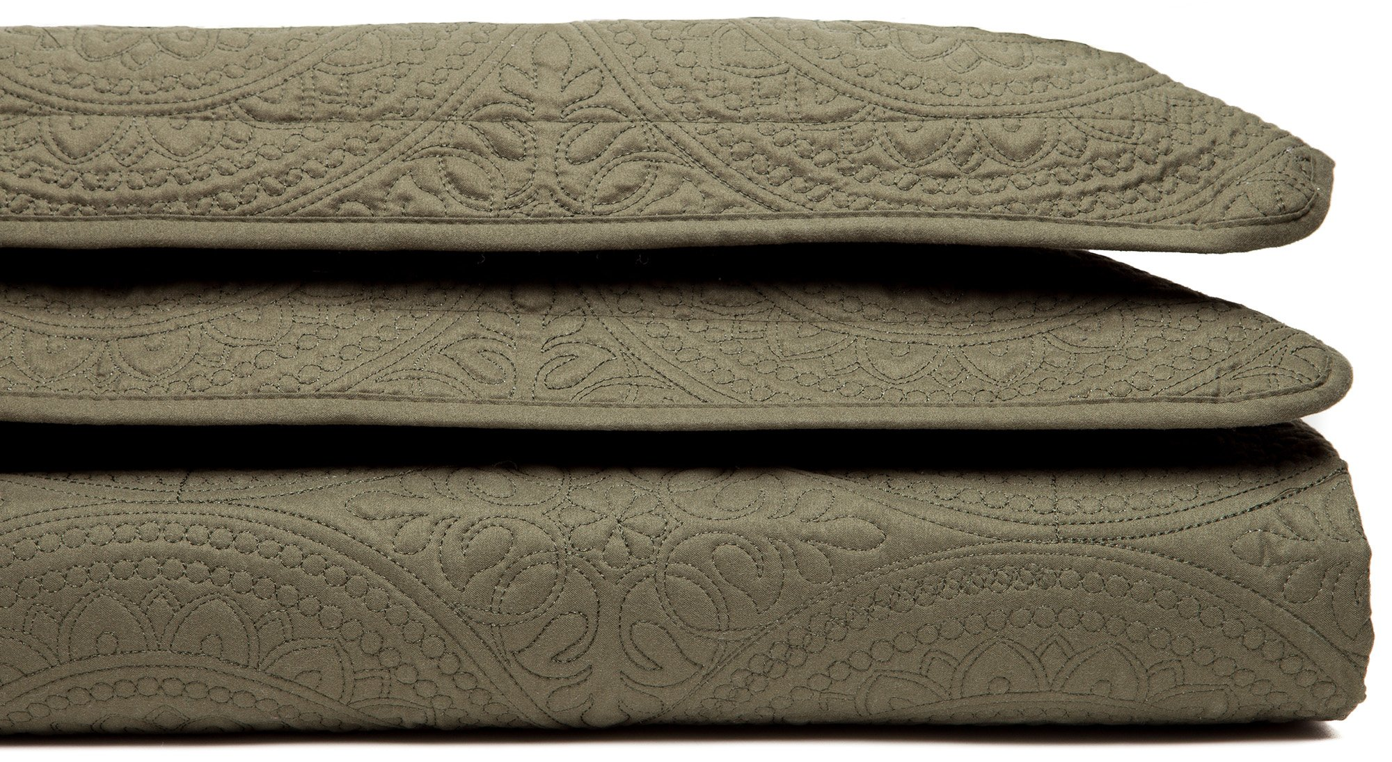 Chanasya Designer Detail Beautiful Thread Embriodary Classic Quilted Pattern 3-Piece Bedspread Coverlet Set- KING- Olive