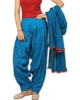 Rama Women's Cotton Blue abstract print Patialal dupatta set.