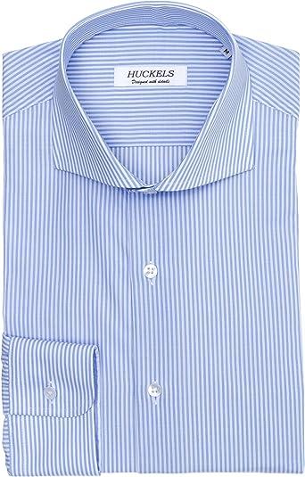Huckels Camisa de Rayas Azules Hombre: Amazon.es: Ropa y accesorios