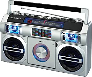 Studebaker SB2145S 80's Retro Street Boombox with FM Radio, CD Player, LED EQ, 10 Watts RMS and AC/DC in Silver