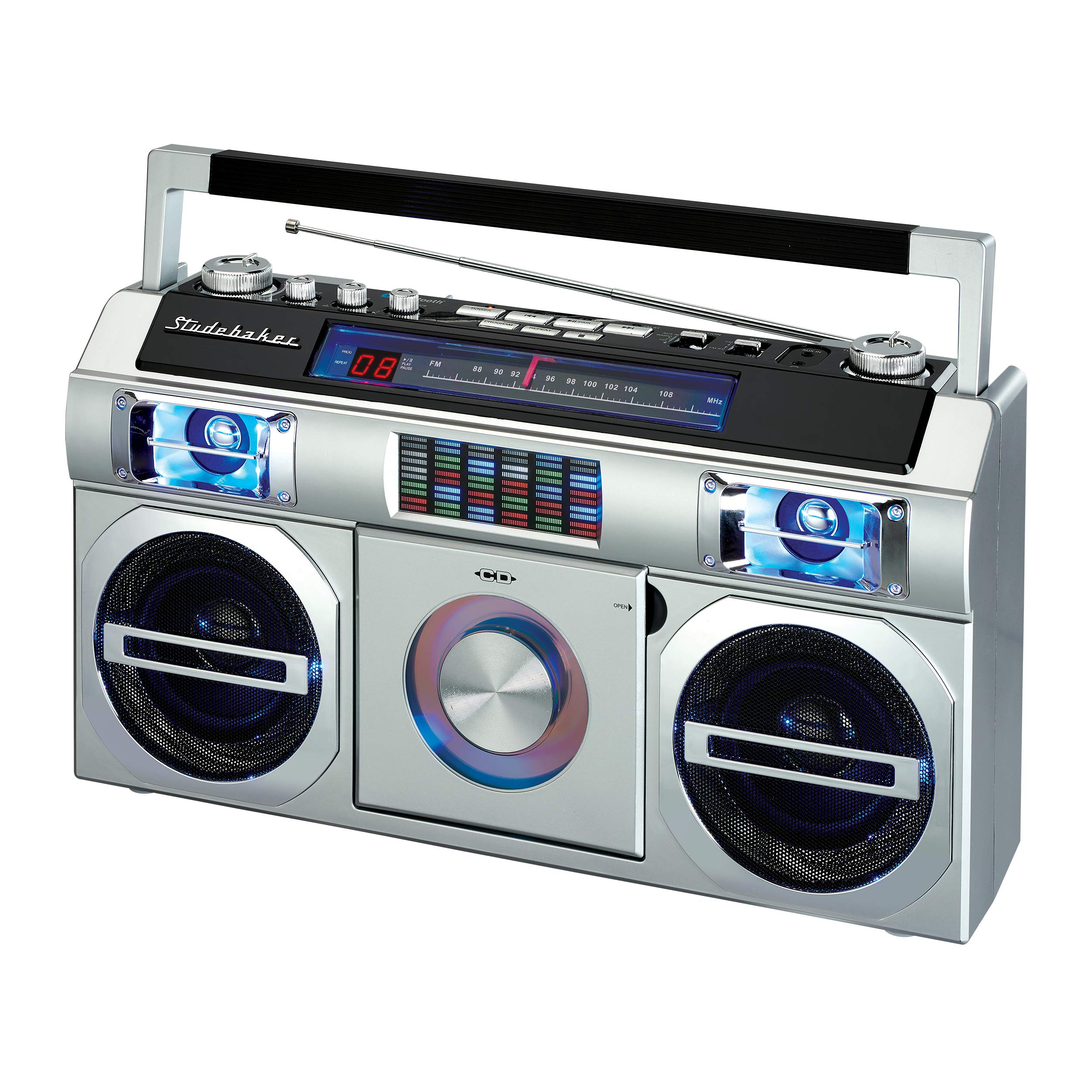 Studebaker SB2145S 80's Retro Street Boombox with FM Radio, CD Player, LED EQ, 10 Watts RMS and AC/DC in Silver by Studebaker (Image #1)