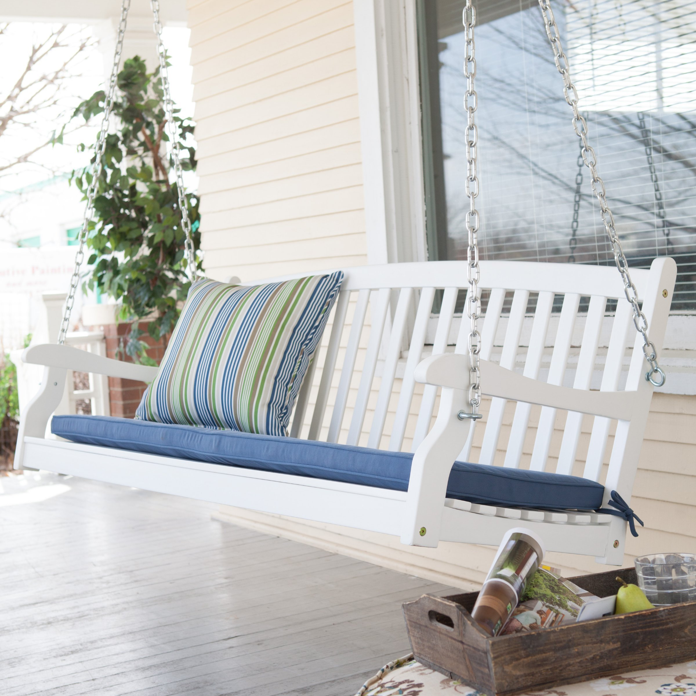 Patio Swing for Two Persons Wood Durable White Finish Coral Coast Pleasant Bay All Weather Curved Back Porch 4 Ft. Outdoor Seating by Coral Coast