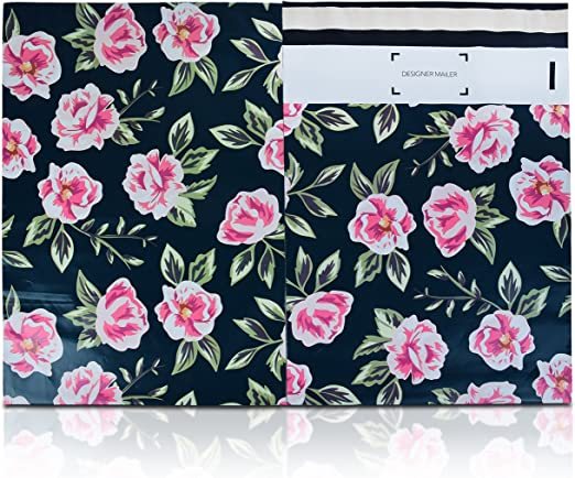 200 Bags 100 10x13 Books 100 10x13 Pink Flowers Designer Poly Mailer
