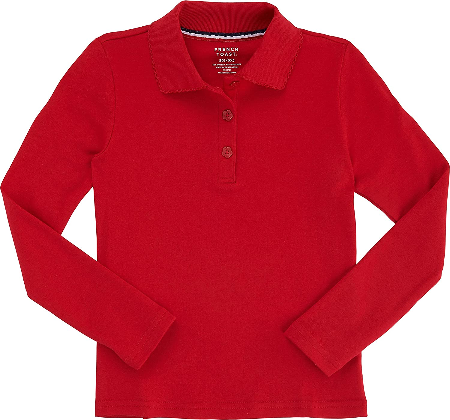 French Toast School Uniform Girls Long Sleeve Polo with Picot Collar, Red, 4T LT-A9424-RED-4T