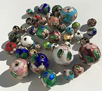 Set Aus 40 Stuck Bunte Cloisonne Emaille Perlen 3 Grossen 16mm 12mm
