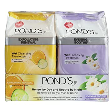Ponds Towelettes Exfoliating and Evening Wet Cleanser, 30 Count