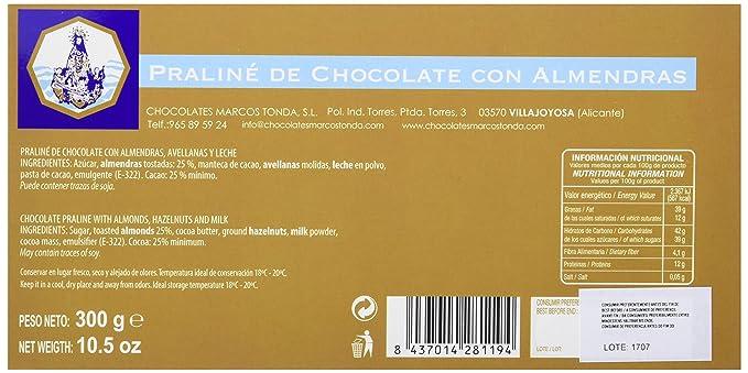 Chocolates Marcos Tonda Chocolate Praliné con Almendras - 7 Paquetes de 300 gr - Total: 2100 gr: Amazon.es: Alimentación y bebidas