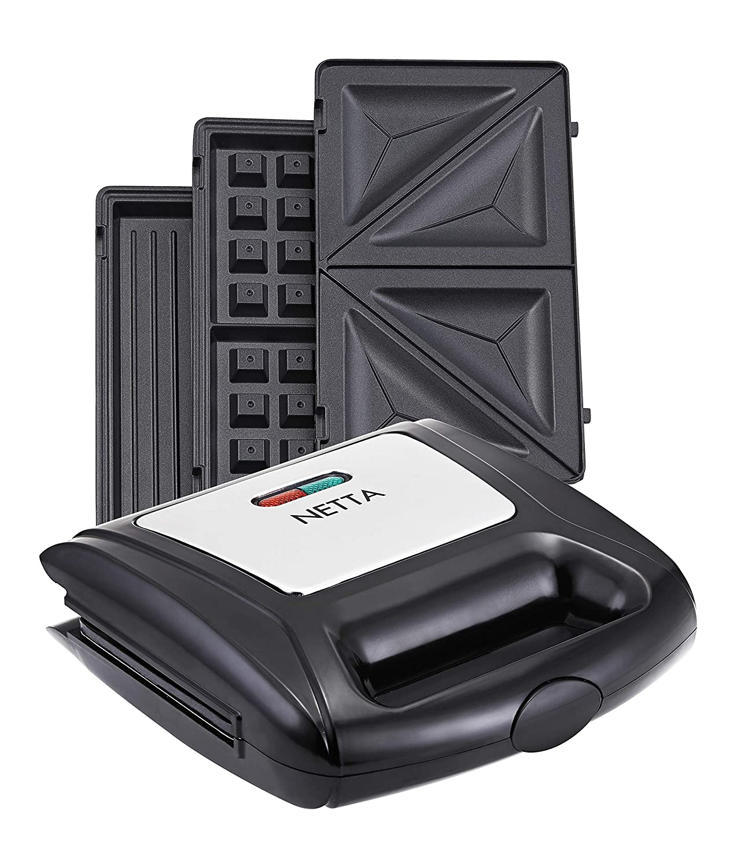 3 in 1 Detachable Stainless Steel Non-Stick Coating NETTA Sandwich Toaster//Panini Maker//Waffle Maker 850W