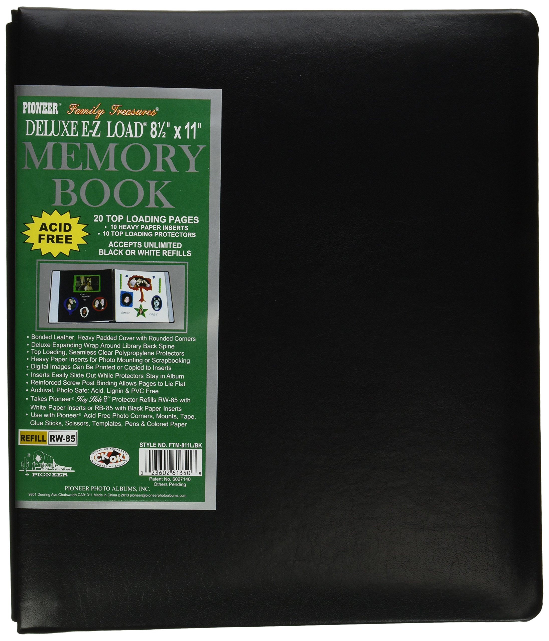 Pioneer Photo Albums 20-Page Family Treasures Deluxe Black Bonded Leather Cover Scrapbook for 8.5 x 11-Inch Pages