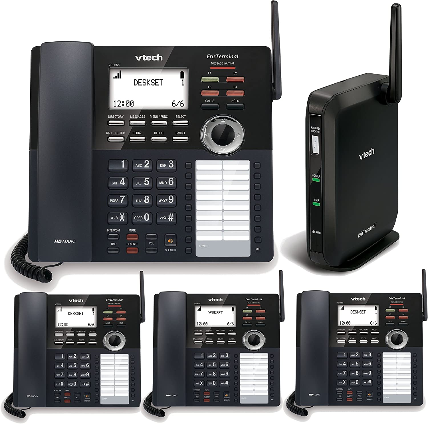 Amazon Com Telco Depot Bundle Of Vtech 4 Line Small Business Phone System With 4 Desksets Includes 2 Lines Unlimited Calling Us And Canada For 1 Year Electronics