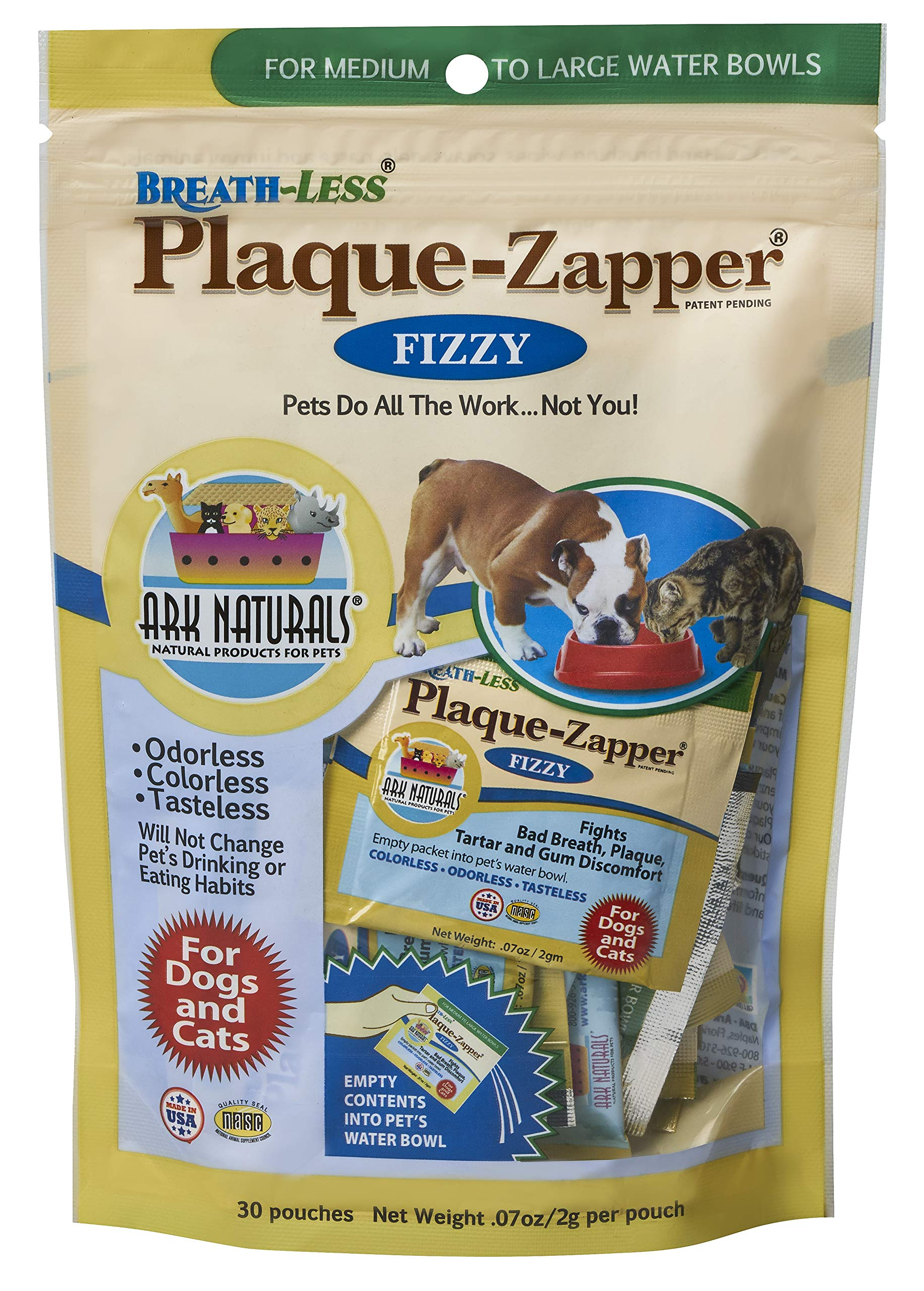 Ark Naturals Plaque Zapper, Tasteless Water Fizzy for Cats and Dogs, Reduces Bad Breath, Plaque and Tartar, 30 Count by ARK NATURALS