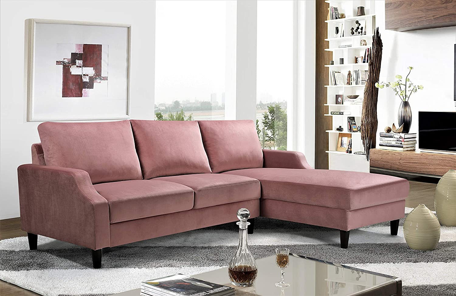 US Pride Furniture S0160-R Iduna Laucas Modern Large Velvet Sectional, L-Shape Sofa with Wide Chaise Lounge, Rose