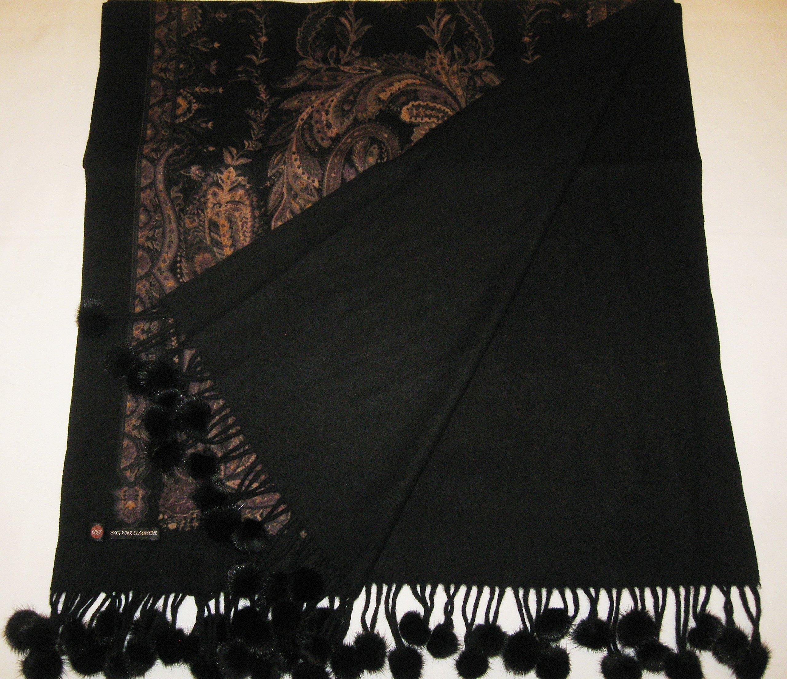 Cashmere Pashmina Group-Cashmere Shawl Scarf Wrap Stole (Solid/ Reversible Print w/ Genuine Fur) - Mink Black by Cashmere Pashmina Group (Image #8)