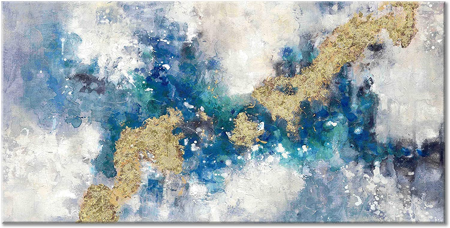 UTOP-art Blue Abstract Canvas Wall Art: Hand Painted Mixed Blue Painting&Gold Foil Artwork for Living Room (40'' x 20'' x 1 Panel)