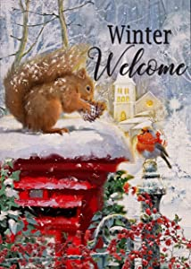 Covido Home Decorative Winter Welcome Garden Flag, House Yard Squirrel Bird Red Mailbox Decor Snowy Church, Christmas Outside Decorations Seasonal Outdoor Xmas Small Burlap Flag Double Sided 12 x 18