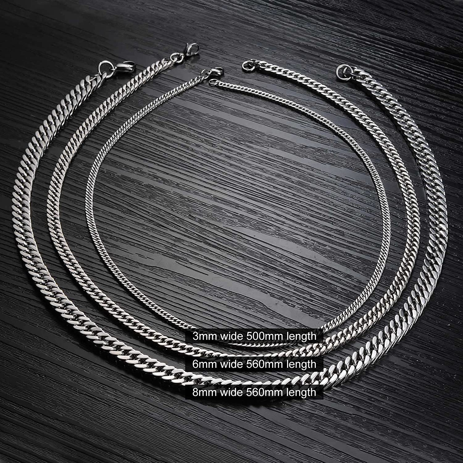 INSEA Fashion Stainless Steel Mens Womens Necklace Curb Chain 22.4 Inch for Men Women