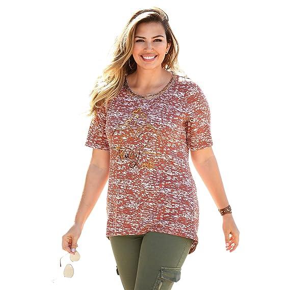 VENCA Camiseta Escote Redondeado con Lentejuelas y Estampado Frontal Mujer b - 006939: Amazon.es: Ropa y accesorios