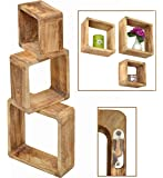3er Set Lounge Cube Regal Landhaus Stil Wandregal Hängeregal Massivholz in Hellbraun