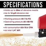 TCP Global Gravity Feed Sand Blaster Gun Kit - Hand Held Sand Blasting Spray Gun with 2 Ceramic Nozzle Tips and Air Regulator - Blast Abrasive Media, Soda, Bead, Walnut, Aluminum Oxide - Pneumatic