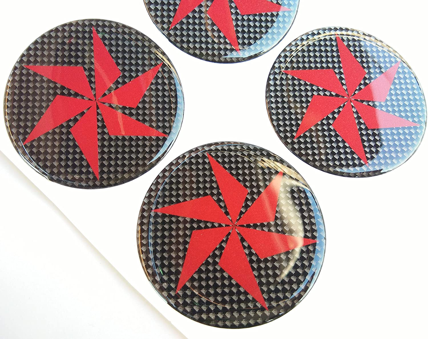 65 mm Turbine Blade Fan Domed Wheel Cap Hub Decal Decals Center Black Red Reflective Kevlar Carbon Fiber 4 Pcs Gloss 3D Gel Rear Resin Motorcycle Sticker Badge Trunk Truck Rims All Series Safety Racing Automotive