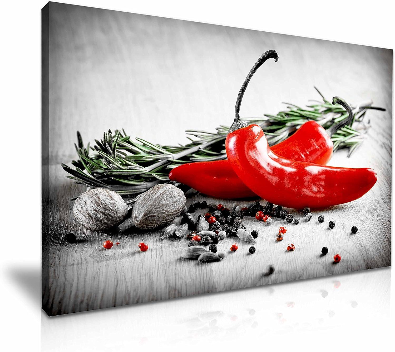 Rouge Piment Cuisine Vert SINGLE TOILE murale ART PRINT ART