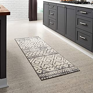 product image for Maples Rugs Abstract Diamond Modern Distressed Non Slip Runner Rug For Hallway Entry Way Floor Carpet [Made in USA], 2 x 6, Neutral