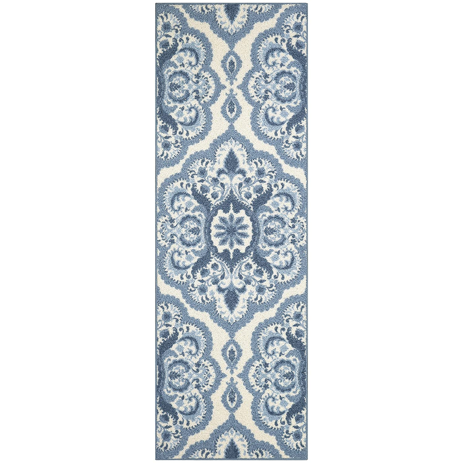 Maples Rugs Kitchen Rug - Vivian 2 x 3 Non Skid Small Accent Throw Rugs [Made in USA] for Entryway and Bedroom, 1'8 x 2'10, Blue 1'8 x 2'10 Kitchen Rug -Vivian