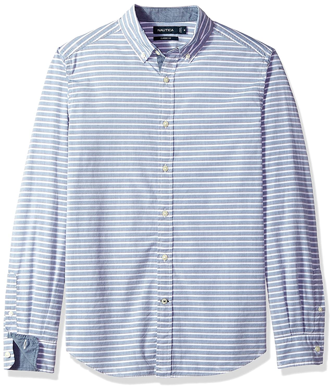 9f8c1c2ff2 Amazon.com: Nautica Long Sleeve Horizontal Stripe Button Down Shirt:  Clothing