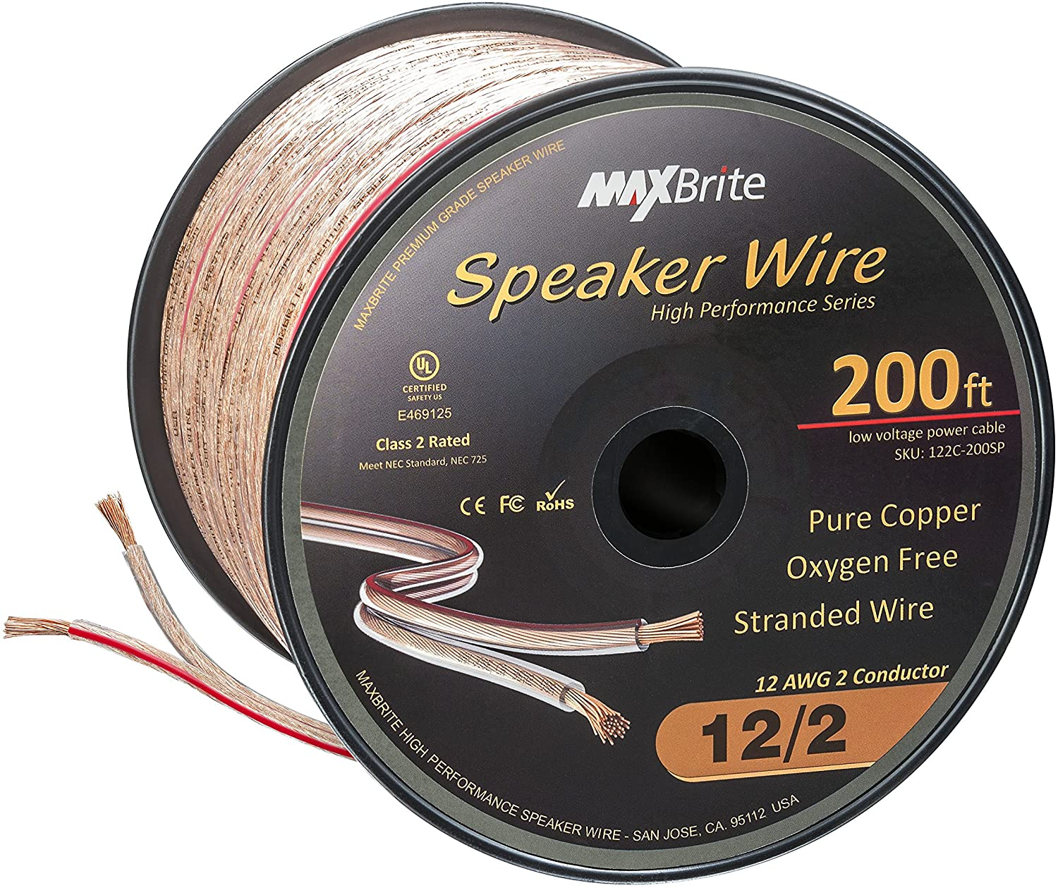 High Performance 12 Gauge Speaker Wire, Oxygen Free Pure Copper - UL Listed Class 2 (200 Feet Spool)