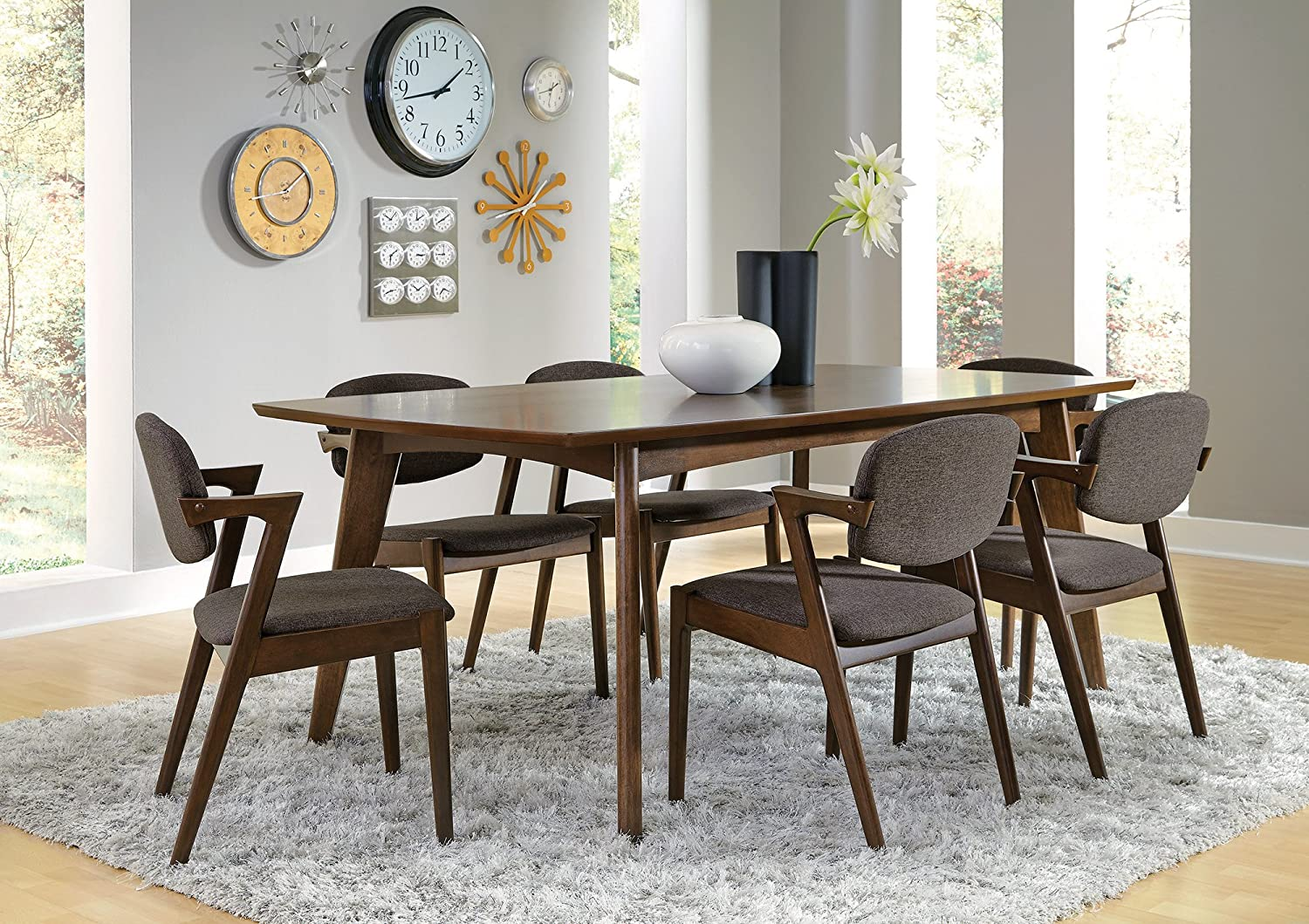 Amazon com benzara bm168070 mid century modern wooden dining table brown tables