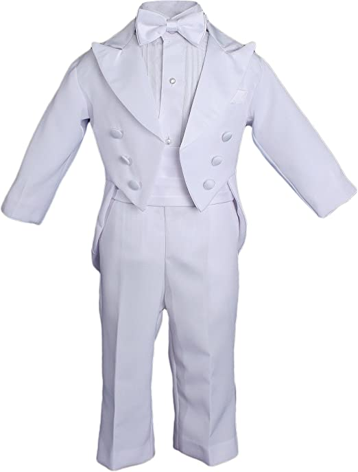 Baby Boy Kid Wedding Party Baptism Communion Formal Tuxedo 5pc White Suit S-20
