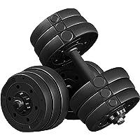 Yaheetech Halterset, 20 kg, korte halters, gietijzeren halters met stersluitingen, fitness, gymnastiek, halters voor…