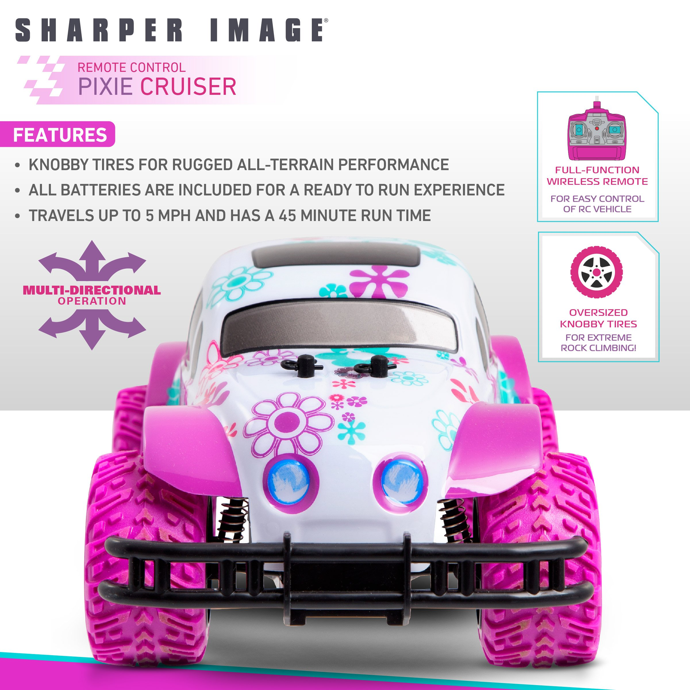 SHARPER IMAGE Pixie Cruiser Pink and Purple RC Remote Control Car Toy for Girls with Off-Road Grip Tires; Princess Style Big Buggy Crawler w/ Flowers Design and Shocks, Race Up to 5 MPH, Ages 6 Year + by Sharper Image (Image #2)