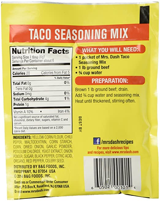 Amazon Mrs Dash Salt Free Taco Seasoning Mix 125 Oz Packets