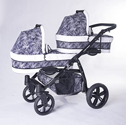 Carro gemelar 3en1. Completo: capazos, sillas, sillas de coche, accesorios.