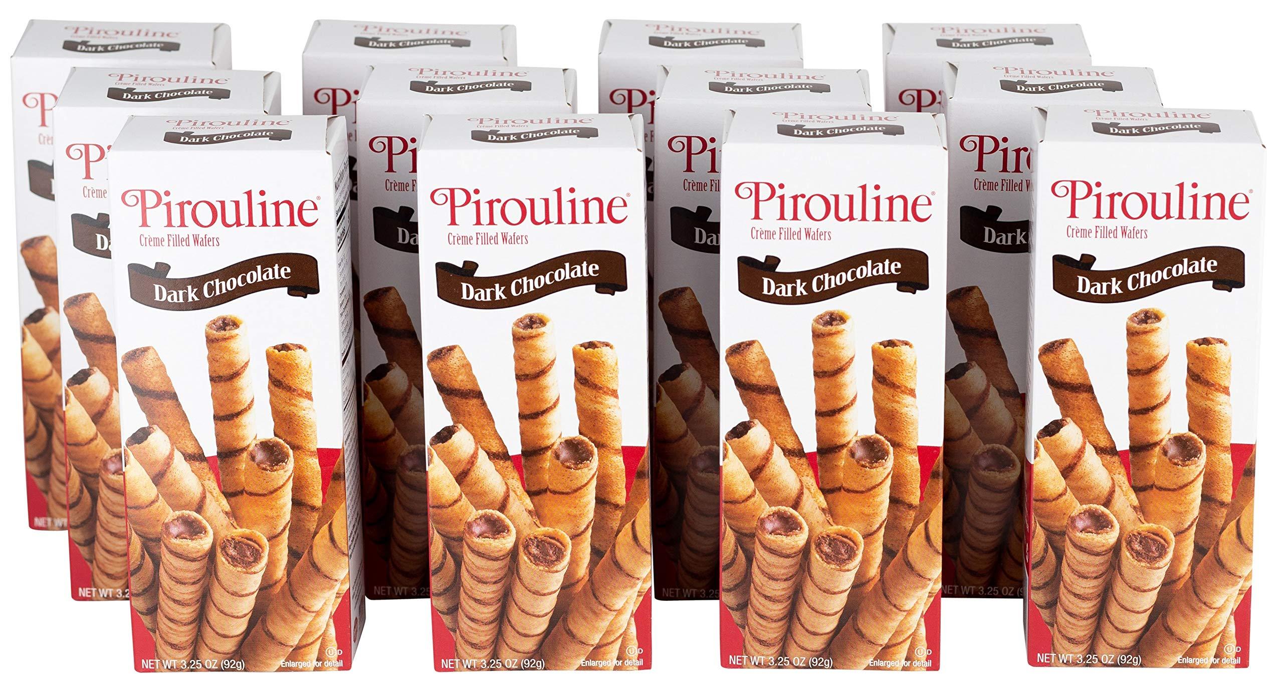 Pirouline Rolled Wafers, Dark Chocolate, 3.25 Ounce Cartons (Pack of 12)
