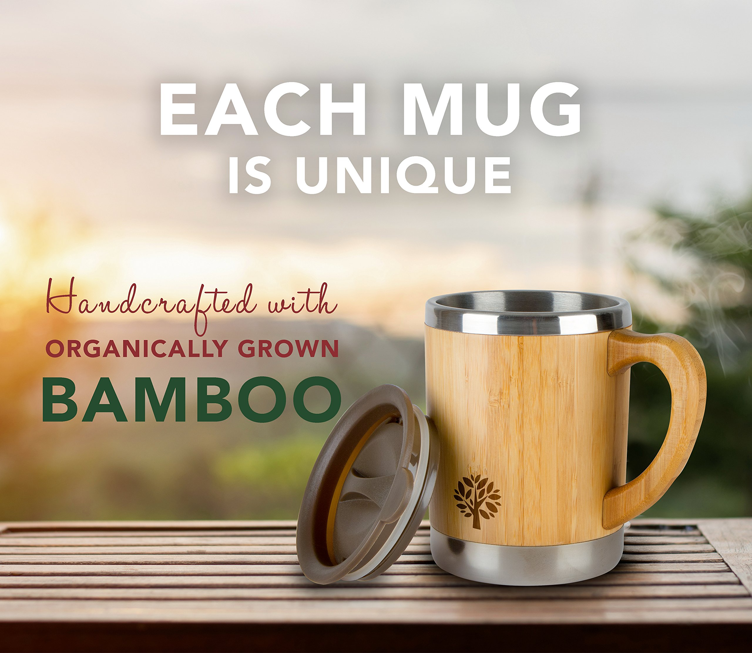 Stainless Steel & Bamboo Coffee Mug - Insulated Wooden Cup with Handle & Lid - Non-Spill On the Go - Keep Your Tea Hot Longer - Unique Gift for Men & Women - 11 oz / 300 ml by JJecommUS (Image #6)