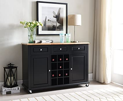 kings brand furniture wine rack sideboard buffet server console table with storage black - Black Sideboard Buffet