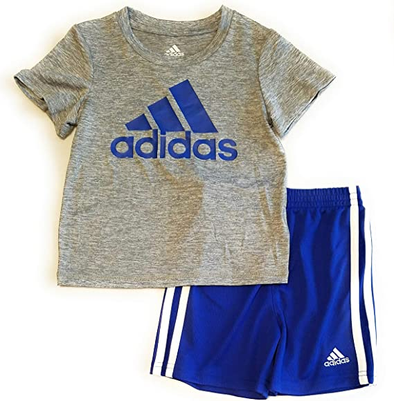 e98a80c54 Amazon.com: adidas Toddler Boys 2pc Short Sleeve Athletic T Shirt and Shorts  Set (12 Mos, Grey/Blue): Clothing