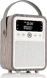 VQ Monty DAB and DAB+ Digital Radio with FM, Bluetooth, Alarm Clock - Real Wood Case Limed Oak