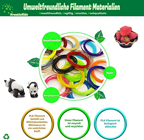 20 colores PLA Filamento Creative Kids 100 m Bol/ígrafo 3D 3D 20 colores x 5 m di/ámetro 1,75 mm para ni/ños y adultos l/ápiz de impresi/ón 3D con pantalla LCD filamento PLA